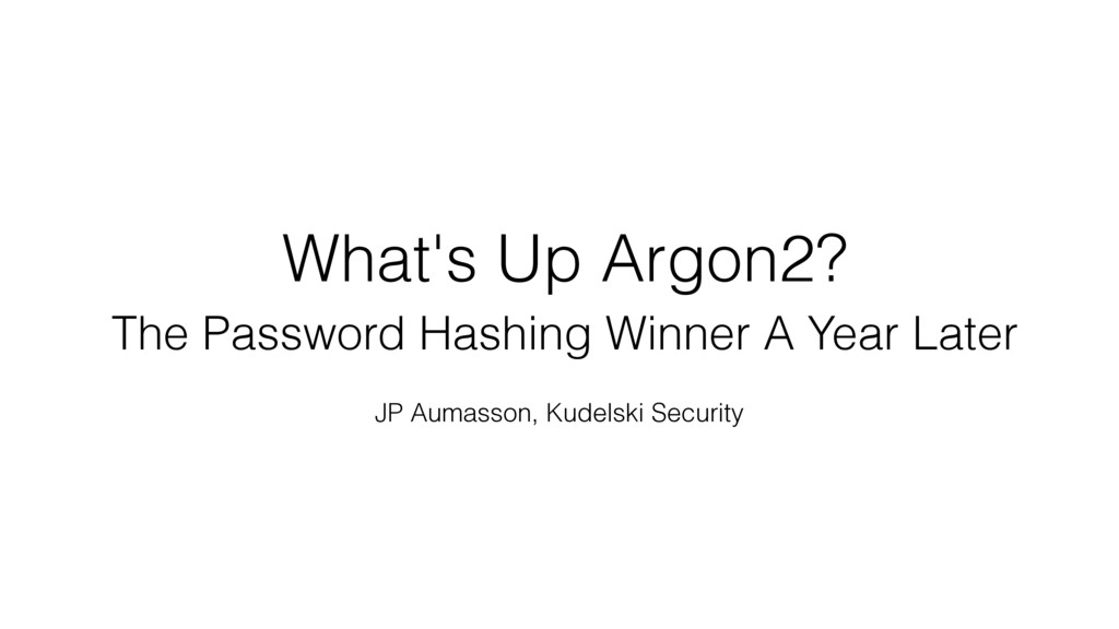 What's Up Argon2? 