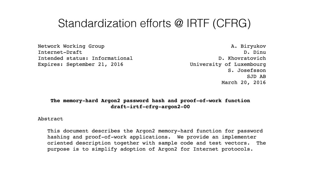 Standardization efforts @ IRTF (CFRG)