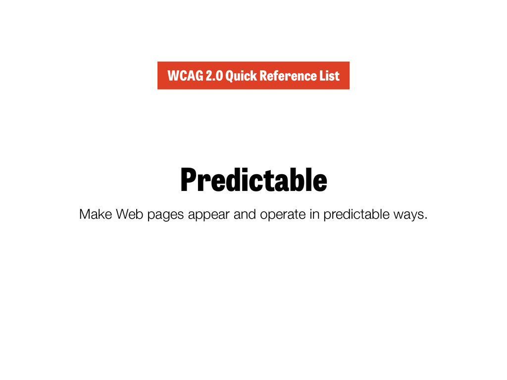 Predictable Make Web pages appear and operate i...