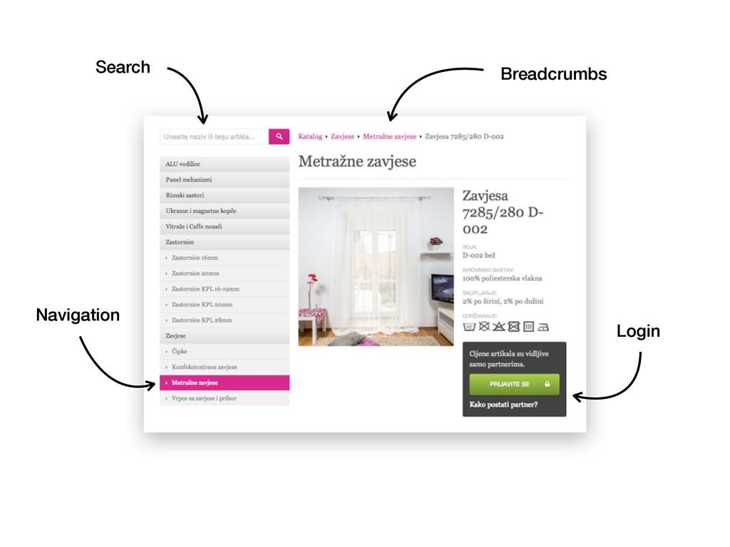 Breadcrumbs Search Navigation Login