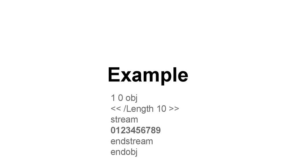 1 0 obj << /Length 10 >> stream 0123456789 ends...