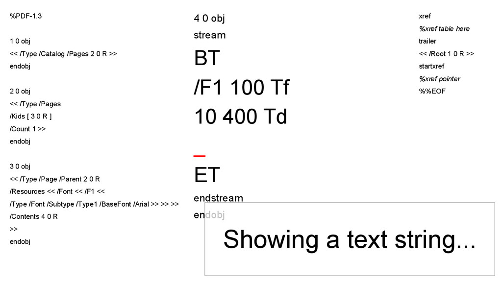 4 0 obj stream BT /F1 100 Tf 10 400 Td _ ET end...