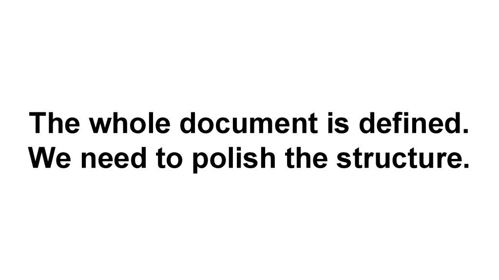 The whole document is defined. We need to polis...