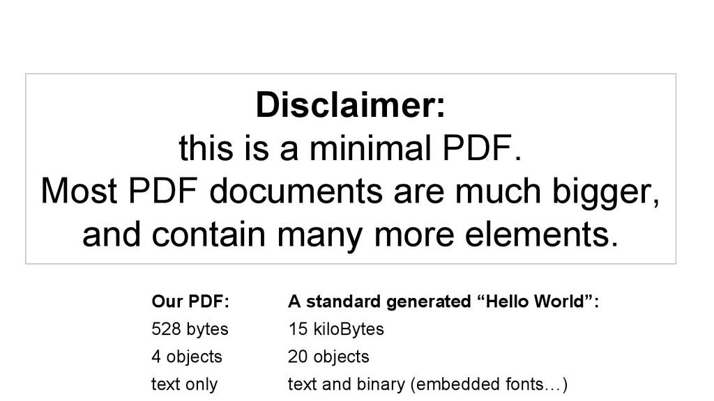Disclaimer: this is a minimal PDF. Most PDF doc...