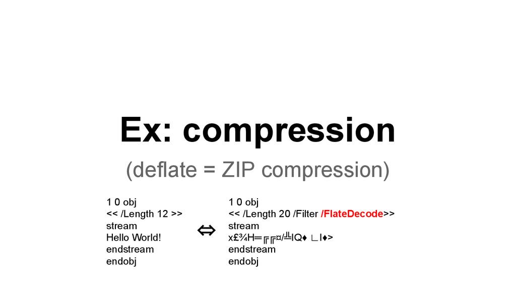 Ex: compression (deflate = ZIP compression) 1 0...