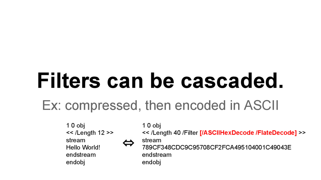 Filters can be cascaded. Ex: compressed, then e...