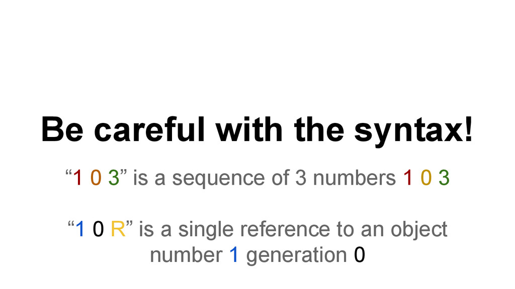 "Be careful with the syntax! ""1 0 3"" is a sequen..."