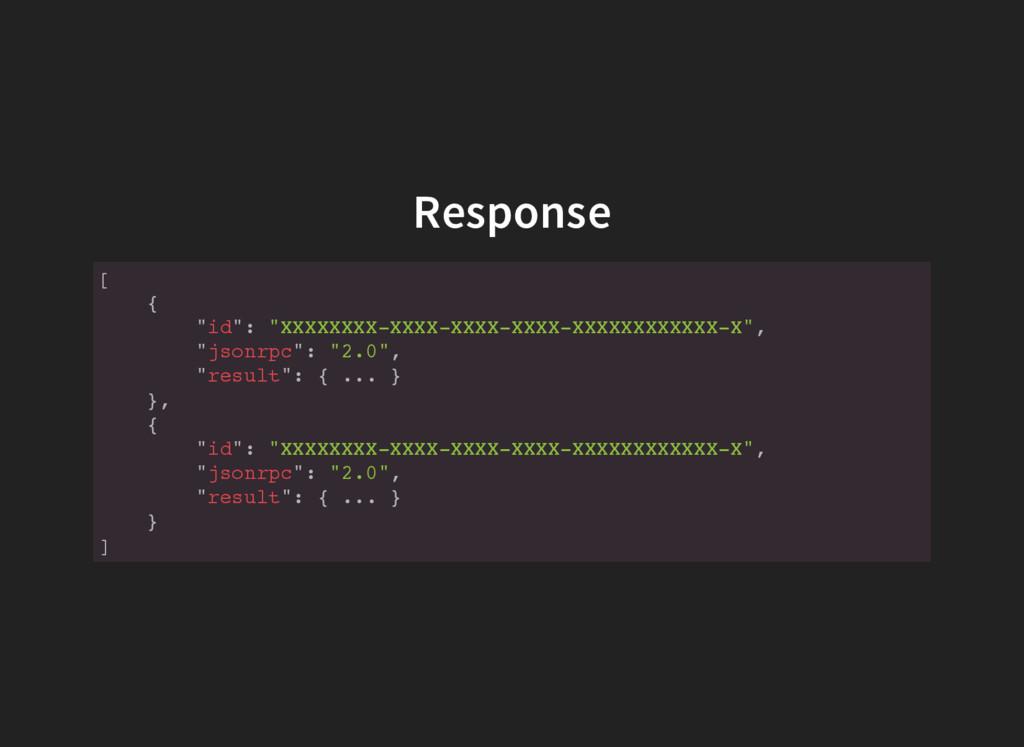 """Response [ { """" i d """" : """" X X X X X X X X - X X ..."""