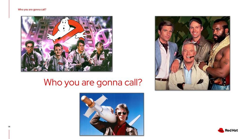 Who you are gonna call? Who you are gonna call?...