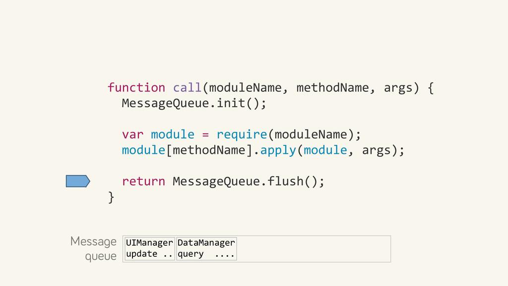 function call(moduleName, methodName, ...