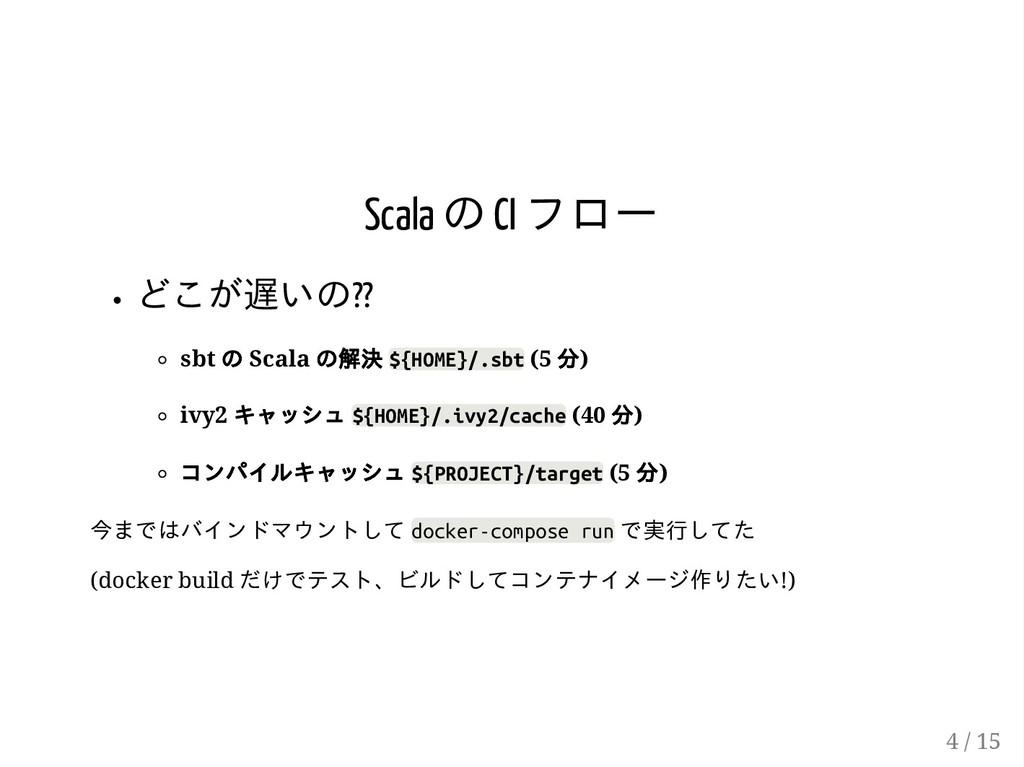 Scala の CI フロー どこが遅いの?? sbt の Scala の解決 ${HOME}...