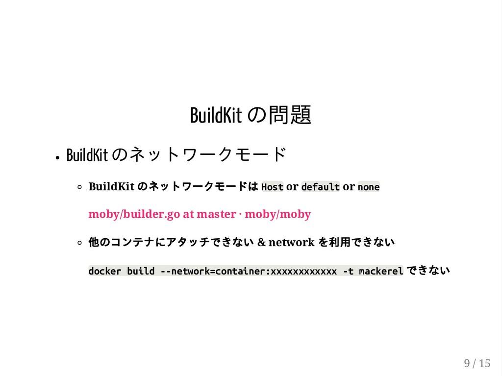 BuildKit の問題 BuildKit のネットワークモード BuildKit のネットワ...