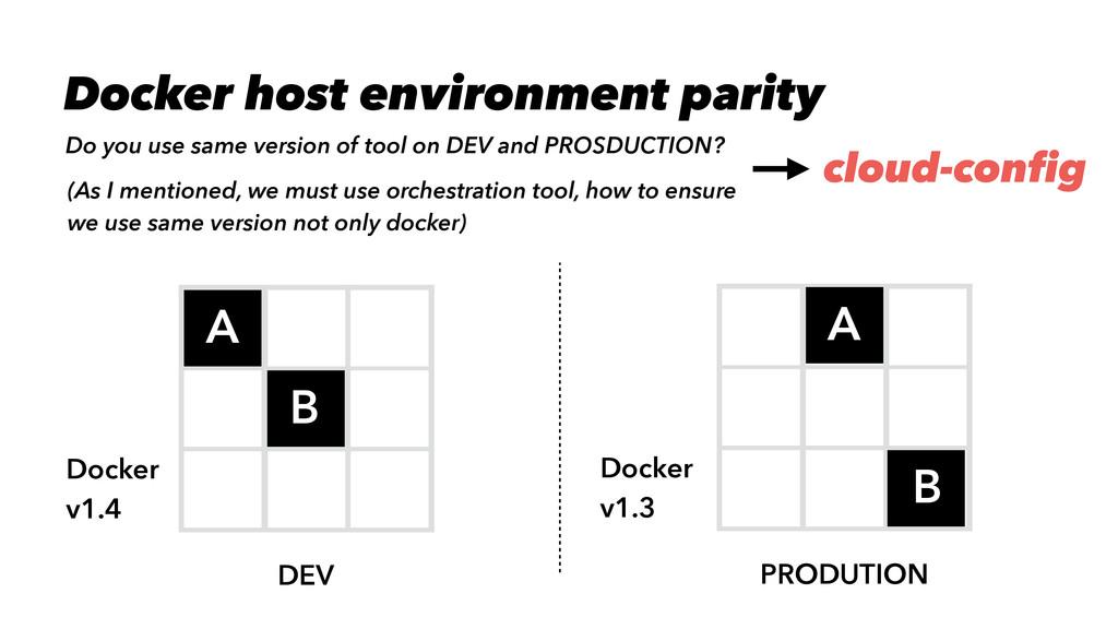 DEV PRODUTION A A B B Docker v1.4 Docker v1.3 D...