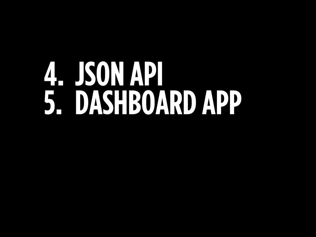 4. JSON API 5. DASHBOARD APP