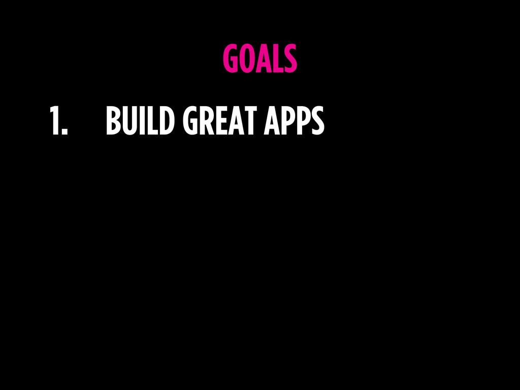 1. BUILD GREAT APPS GOALS