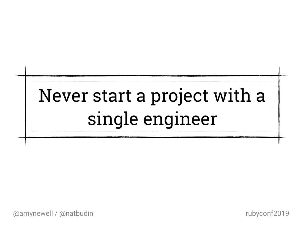 @amynewell / @natbudin rubyconf2019 Never start...