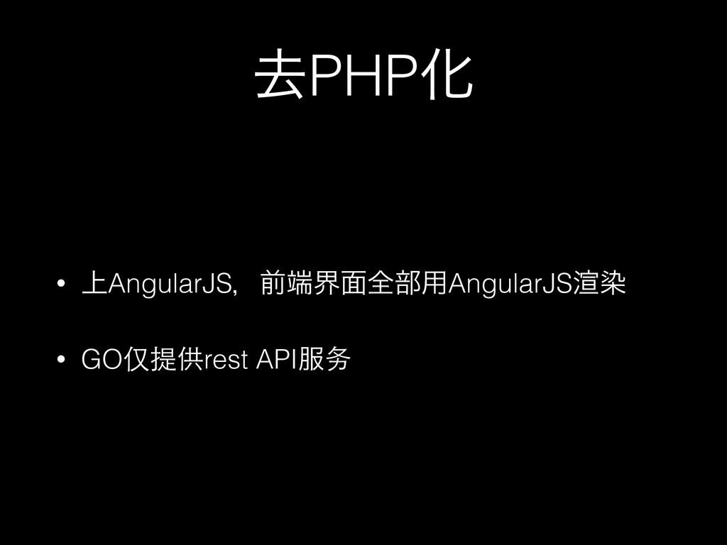 ڈPHPԽ • ্AngularJSɼલք໘શ෦༻AngularJS䘦છ • GO仅提供re...