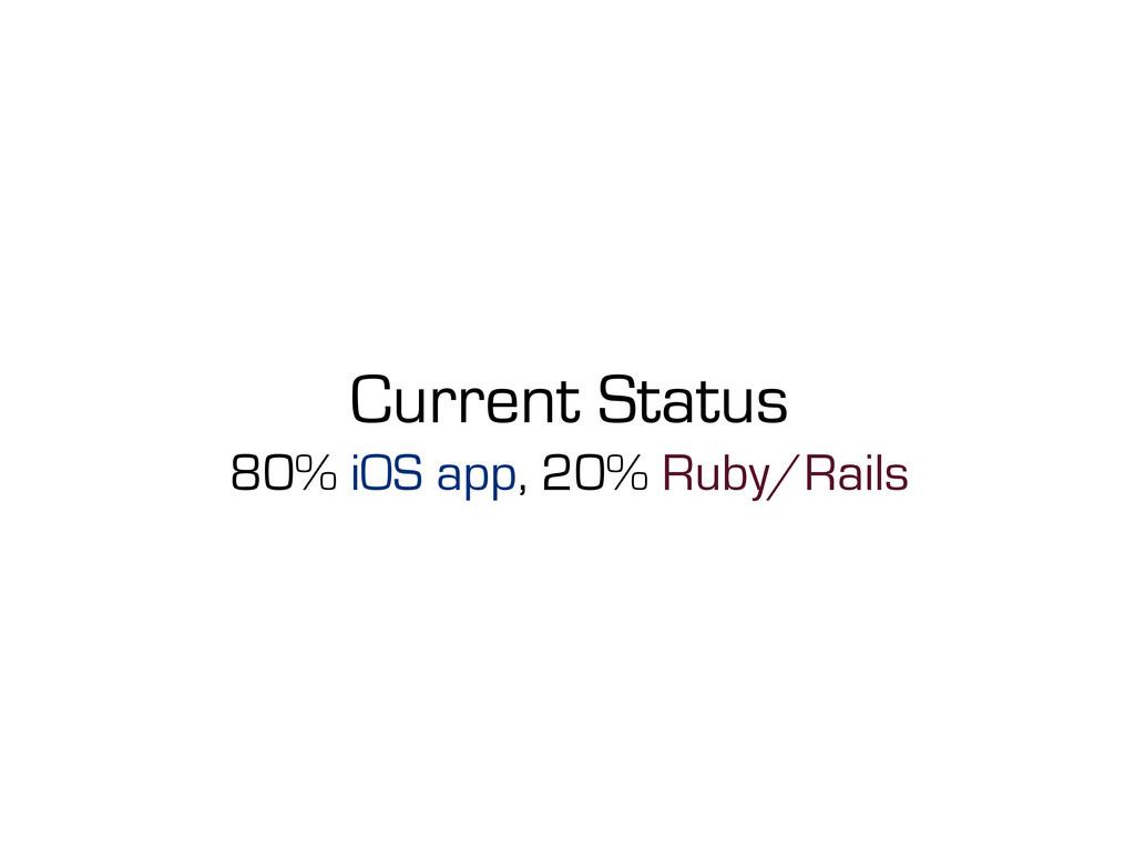 Current Status 80% iOS app, 20% Ruby/Rails
