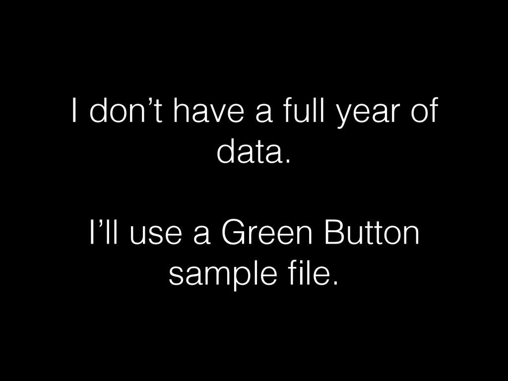 I don't have a full year of data. I'll use a Gr...