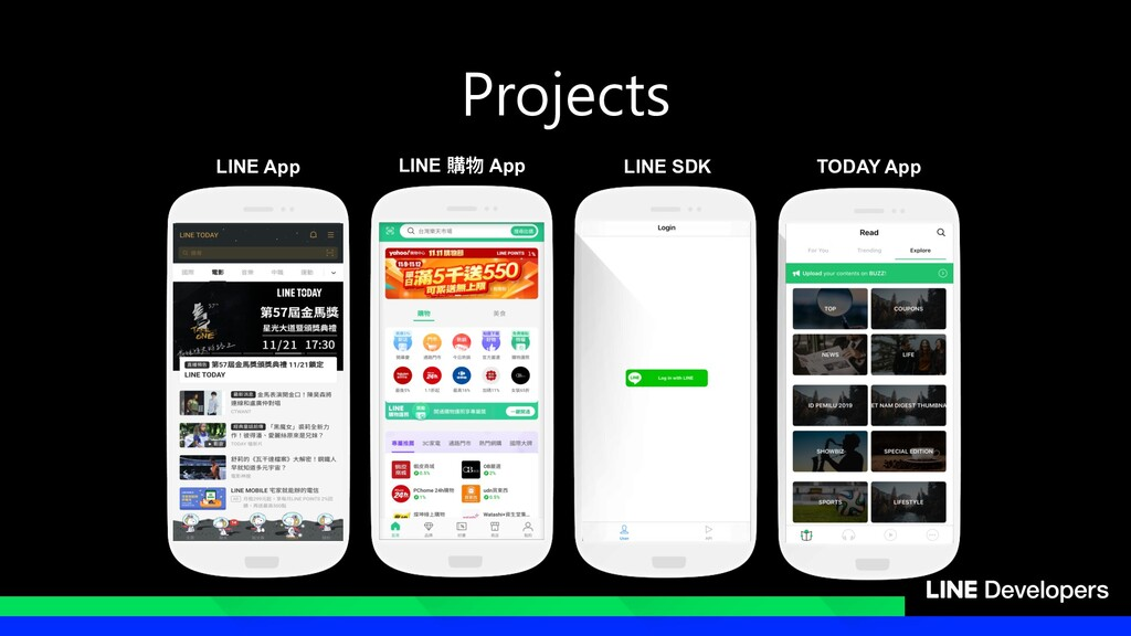 Projects LINE App TODAY App LINE SDK LINE 購物 App