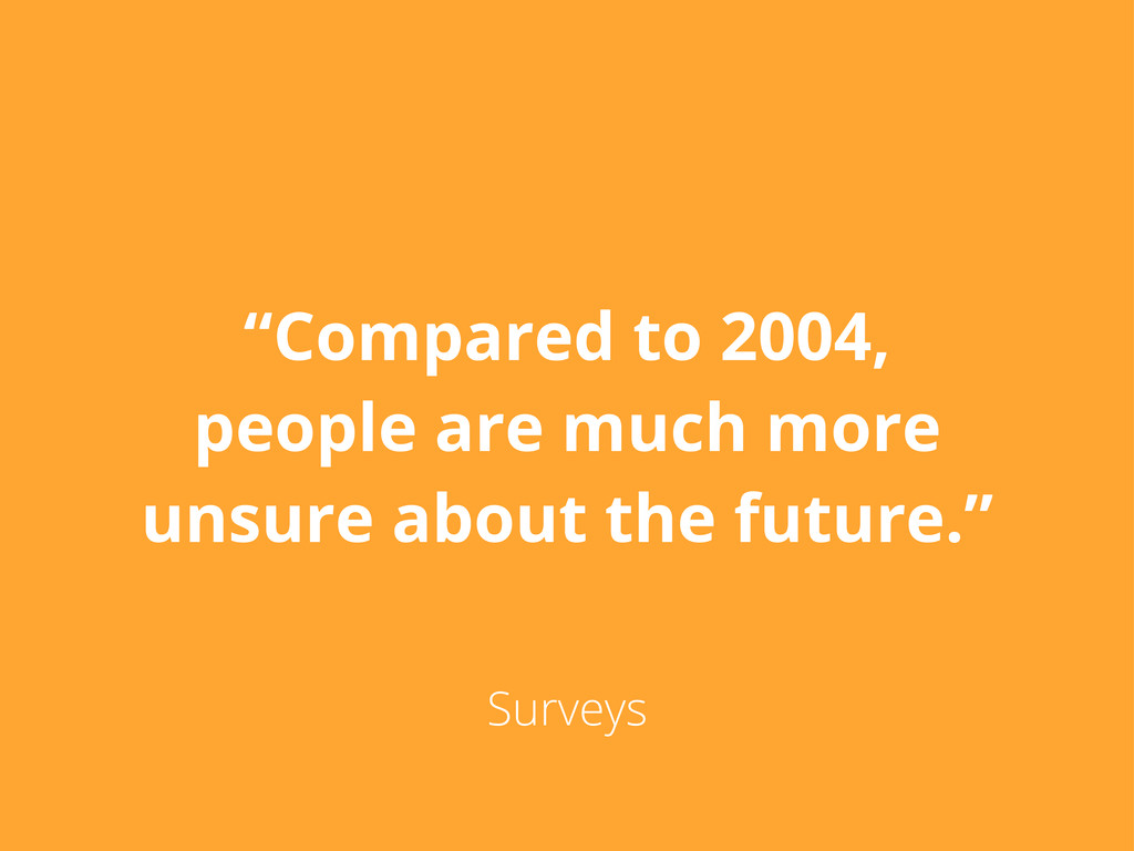 """""""Compared to 2004, people are much more unsure ..."""