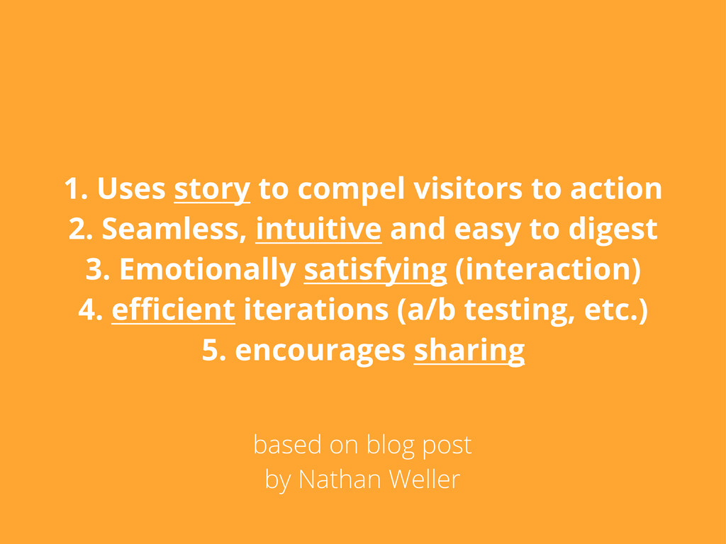 1. Uses story to compel visitors to action 2. S...