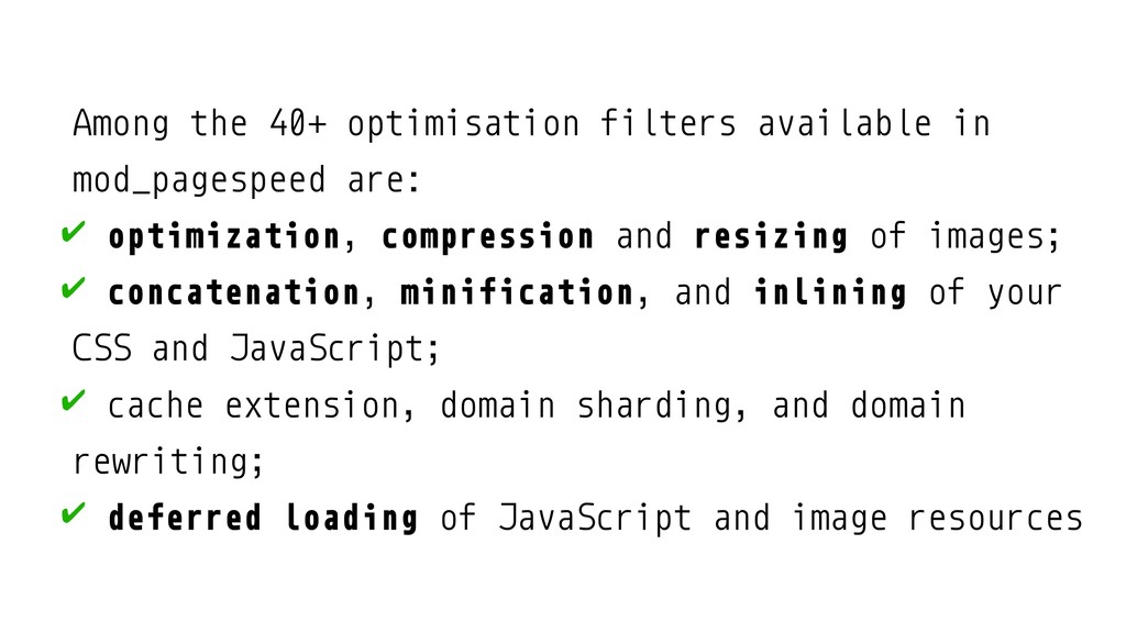 Among the 40+ optimisation filters available in...