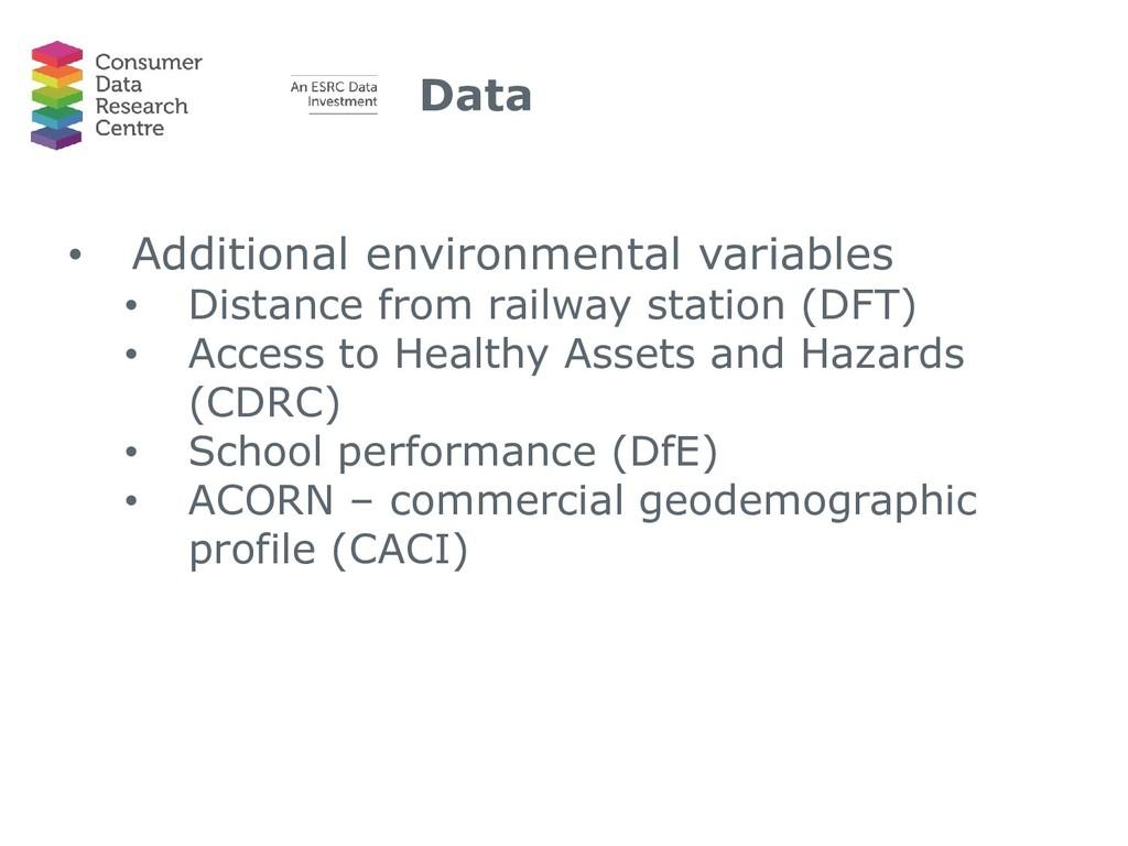 Data • Additional environmental variables • Dis...