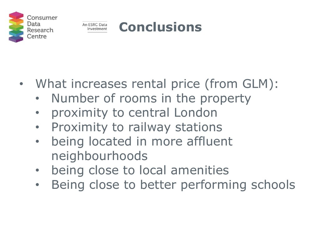 Conclusions • What increases rental price (from...