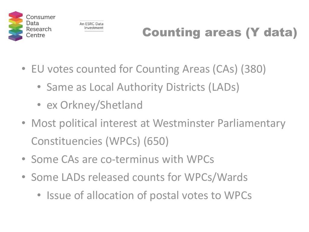 Counting areas (Y data) • EU votes counted for ...