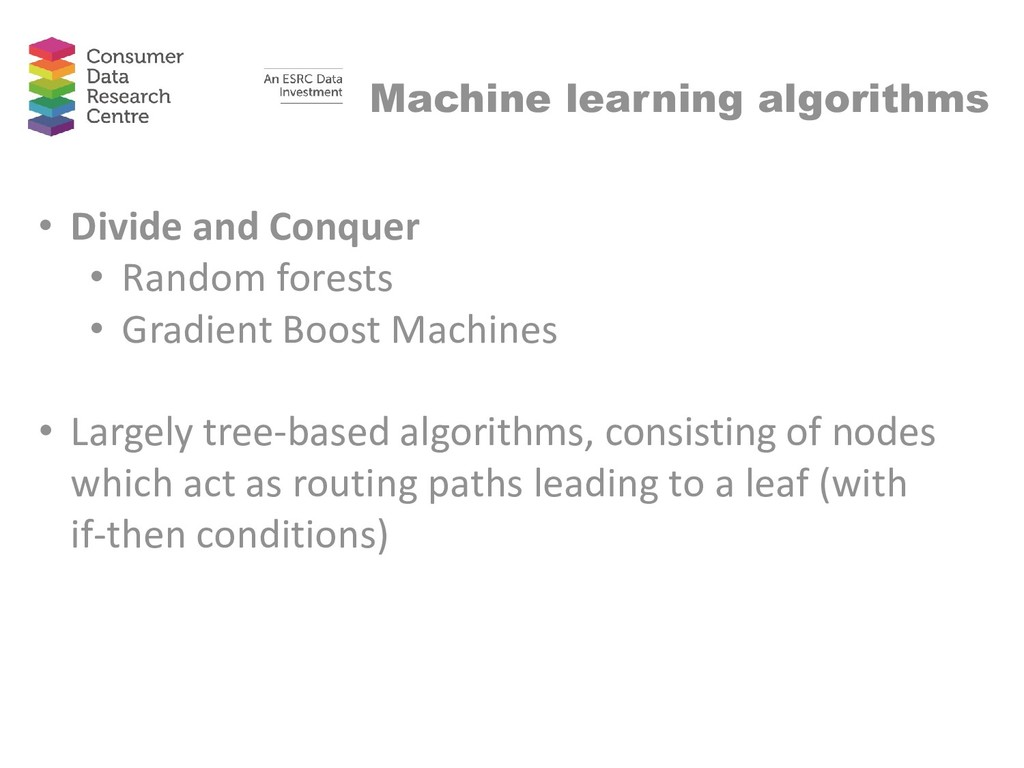 Machine learning algorithms • Divide and Conque...