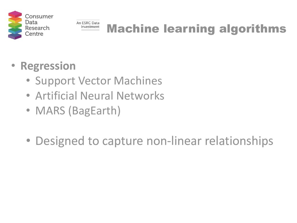 Machine learning algorithms • Regression • Supp...