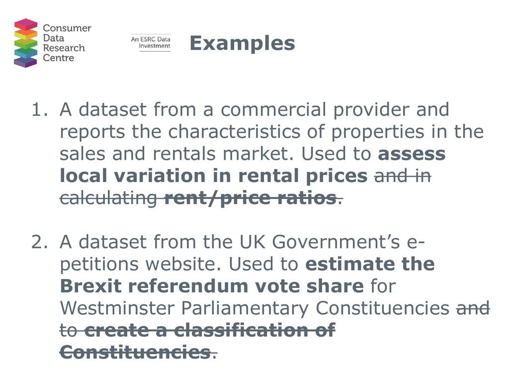 Examples 1. A dataset from a commercial provide...