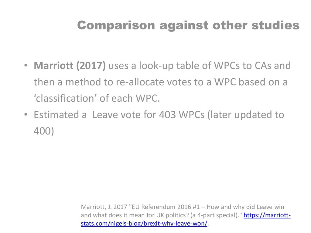 Comparison against other studies • Marriott (20...