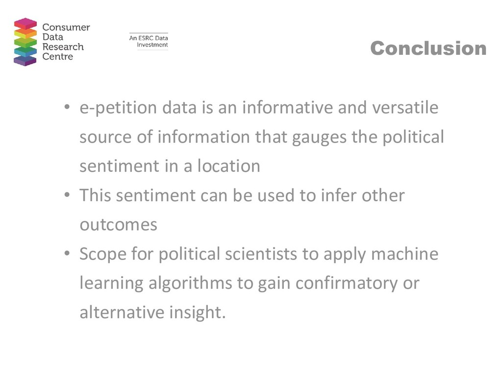 Conclusion • e-petition data is an informative ...