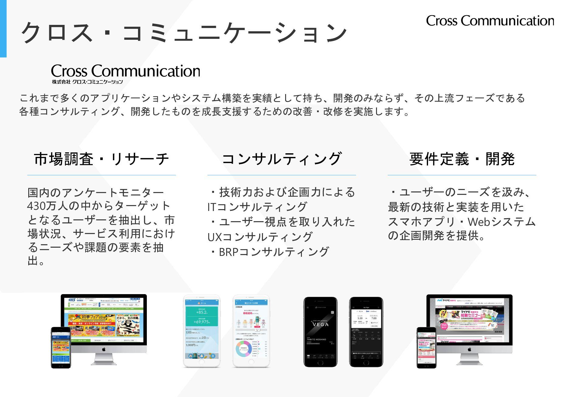 クロス・コミュニケーション これまで多くのアプリケーションやシステム構築を実績として持ち、開発...