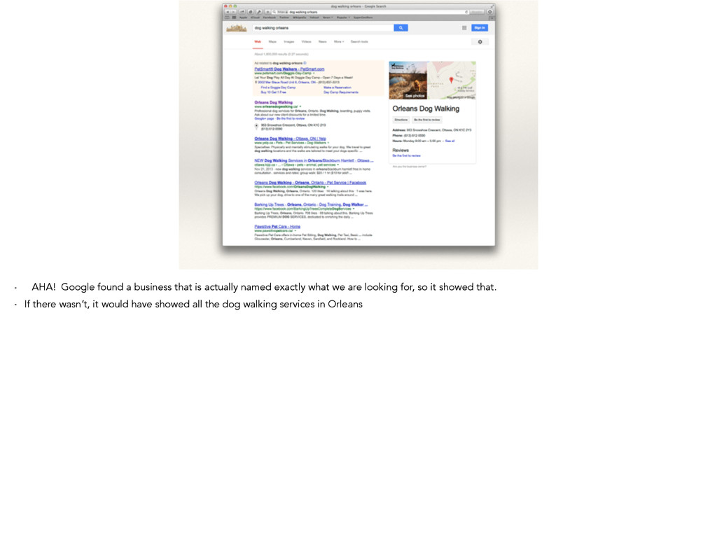 - AHA! Google found a business that is actually...