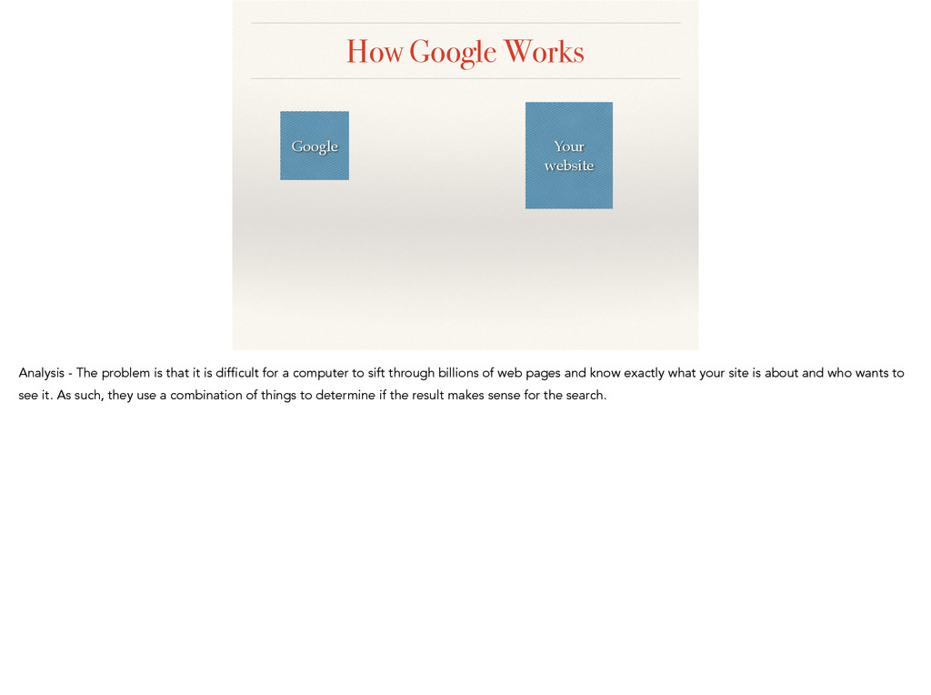 How Google Works Google Your website Analysis -...