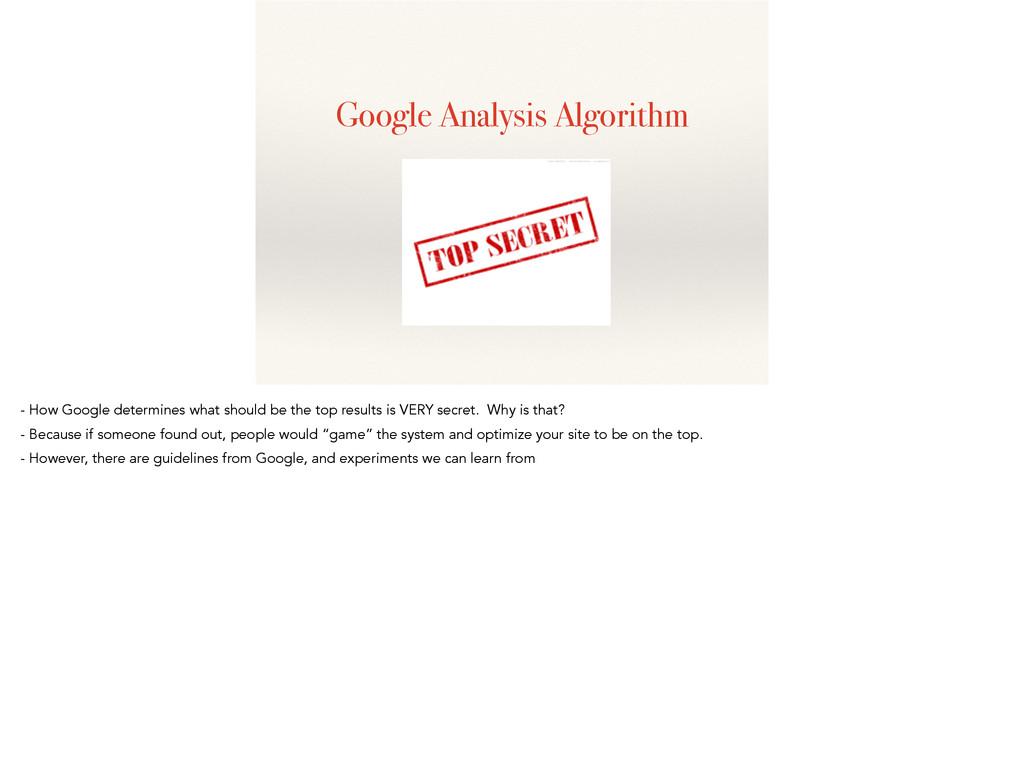 Google Analysis Algorithm - How Google determin...