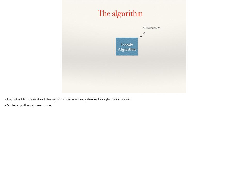 The algorithm Google Algorithm Site structure -...