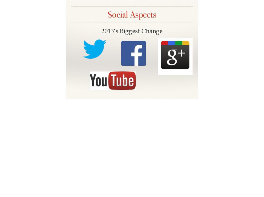 Social Aspects 2013's Biggest Change