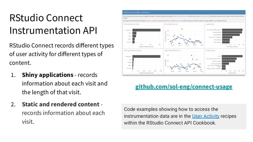 RStudio Connect Instrumentation API RStudio Con...