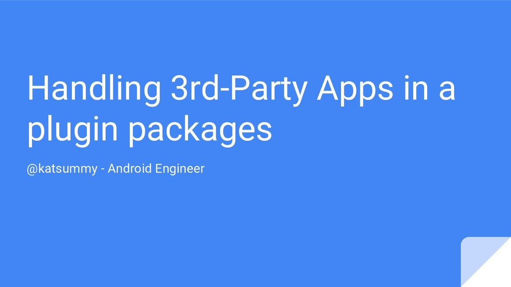 Handling 3rd-Party Apps in a plugin packages @k...
