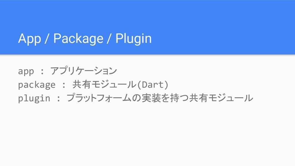 App / Package / Plugin app : アプリケーション package :...