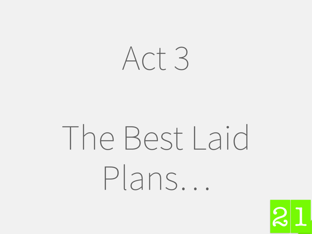 1 Act 3 The Best Laid Plans… 2
