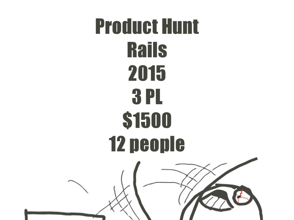 Product Hunt Rails 2015 3 PL $1500 12 people