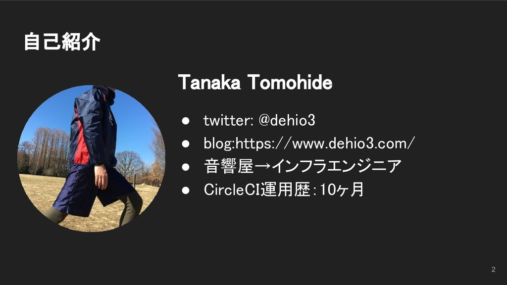 自己紹介 Tanaka Tomohide ● twitter: @dehio3 ● bl...