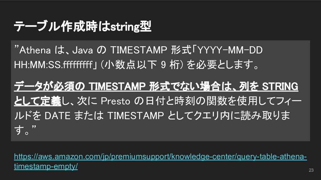 """テーブル作成時はstring型 """"Athena は、Java の TIMESTAMP 形式「..."""