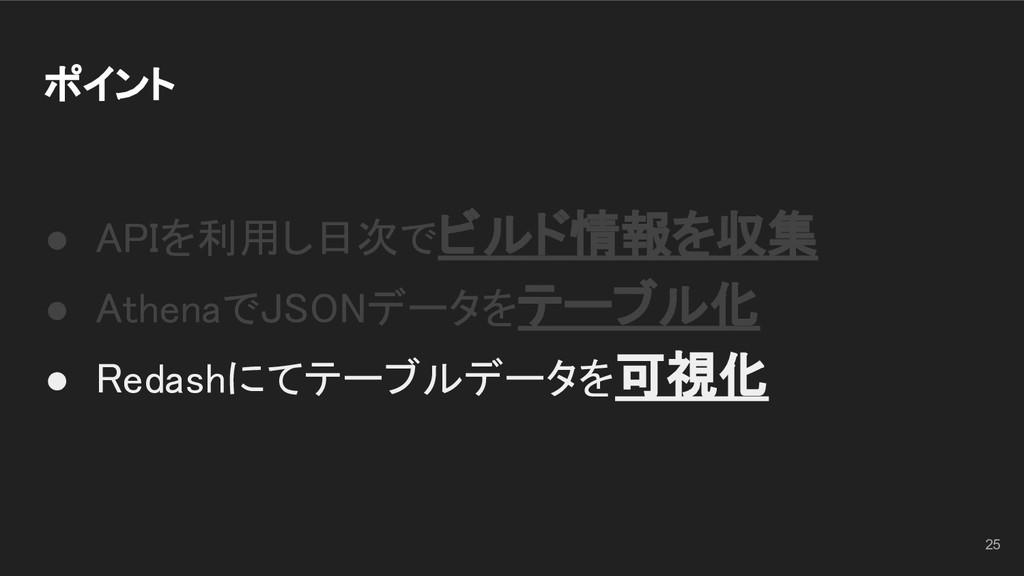 ポイント ● APIを利用し日次でビルド情報を収集 ● AthenaでJSONデータをテー...