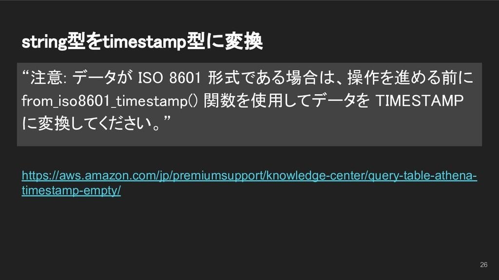 "string型をtimestamp型に変換 ""注意: データが ISO 8601 形式である..."